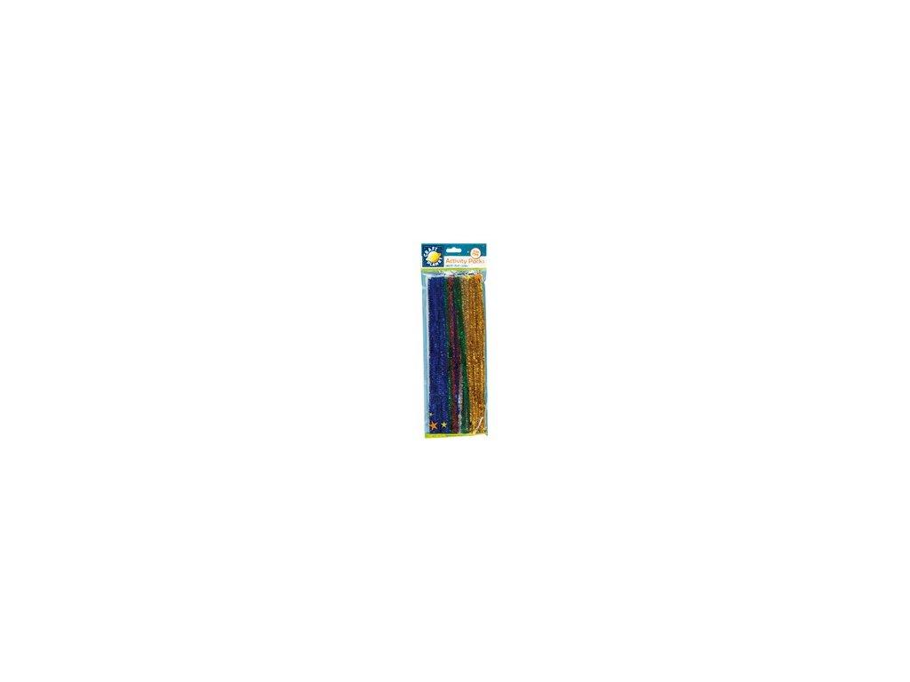Chlupaté dráty třpytivé barevné (40ks)