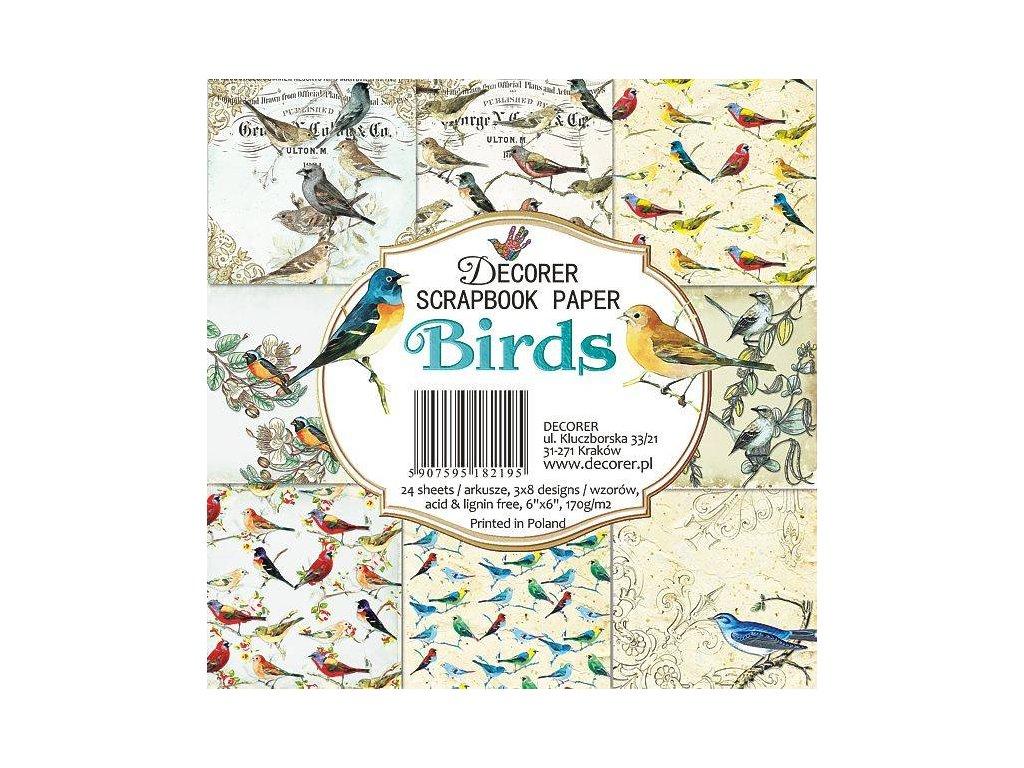 Sada papírů Birds 15,2x15,2cm