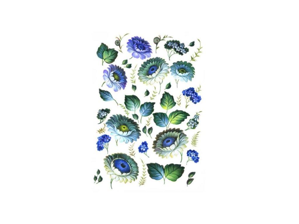 Rýžový papír A4 Modré květiny