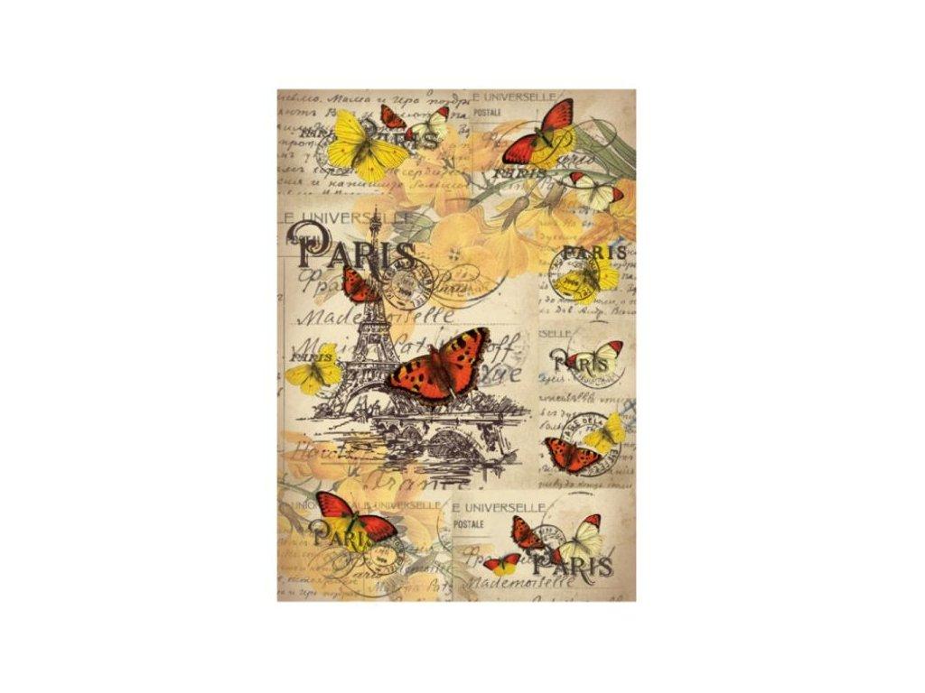 Rýžový papír A4 Motýli v Paříži