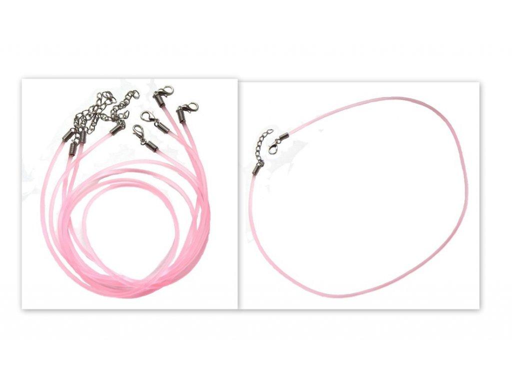 Gumový náhrdelník se zapínáním,  růžový