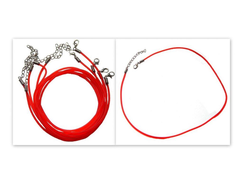 Gumový náhrdelník se zapínáním, červený