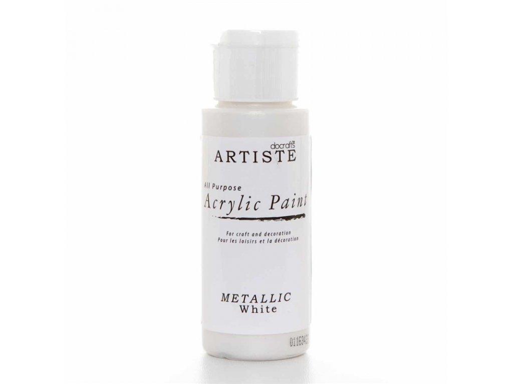 Akrylová barva ARTISTE metalická - bílá