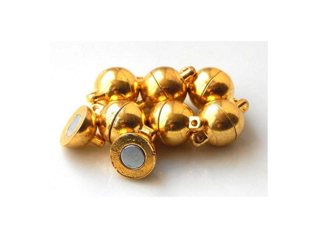 Magnetické zapínání, koule 10x15mm - zlato