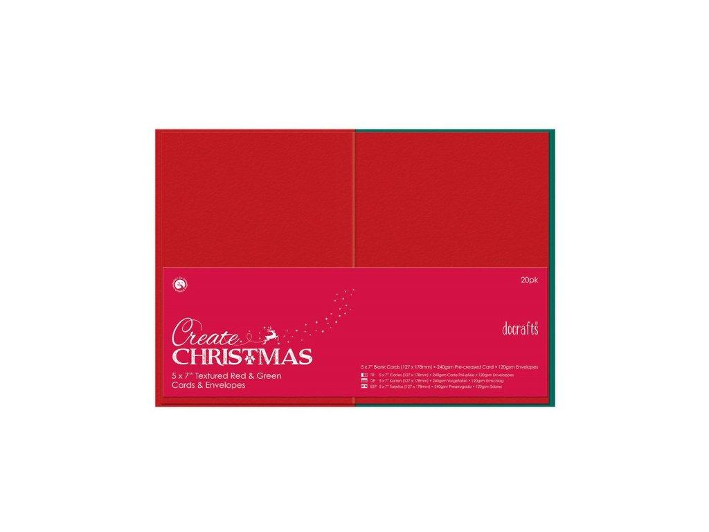 Přání a obálky 13x18cm - červené a zelené