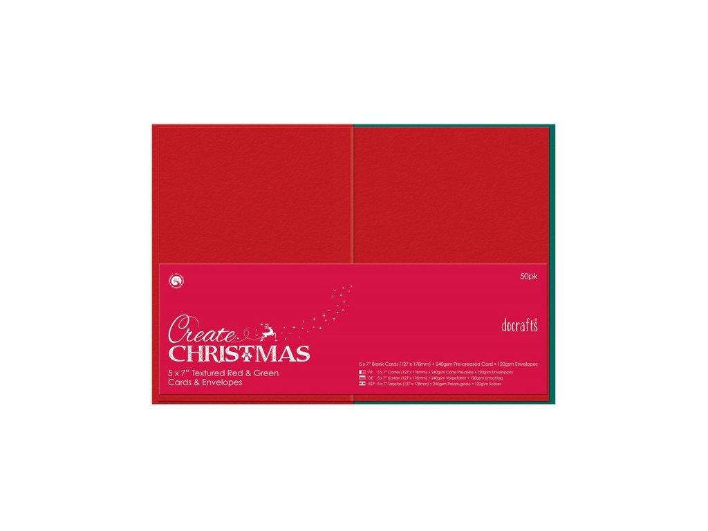 Přání a obálky 13x18cm (50ks) - červené a zelené