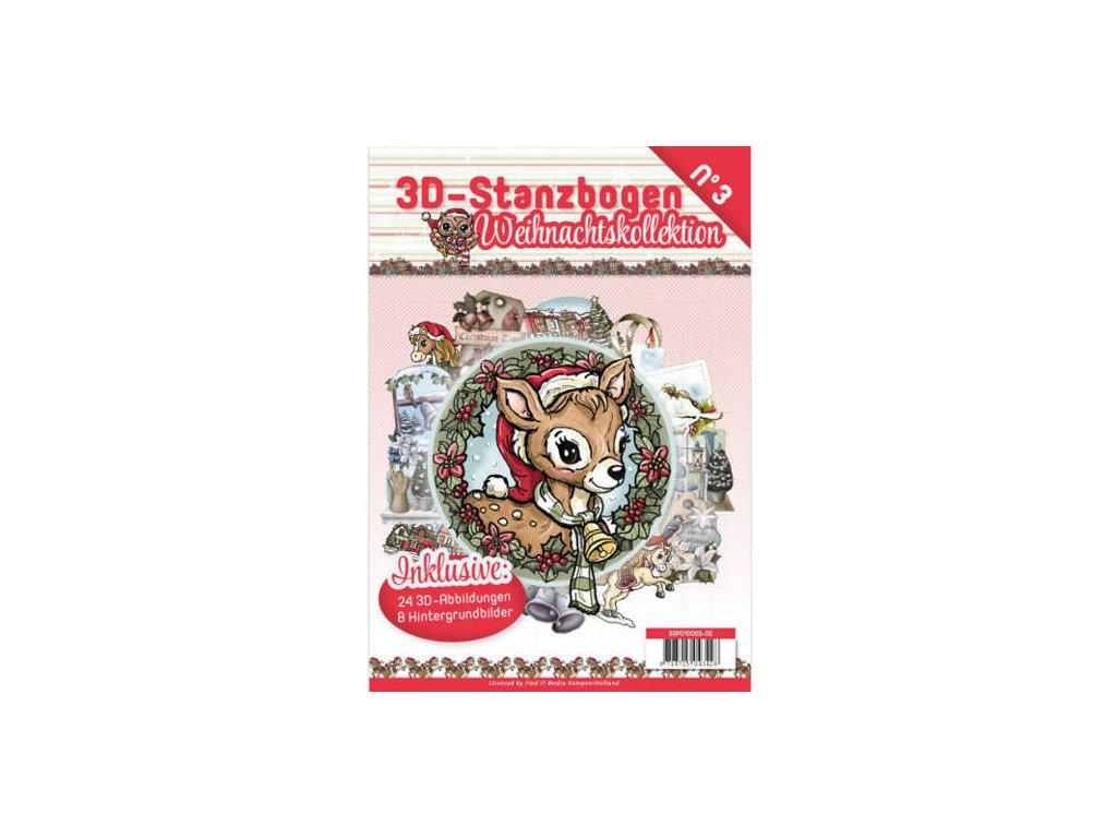 3D Výřezy a papíry v sadě Vánoční kolekce 24 ks
