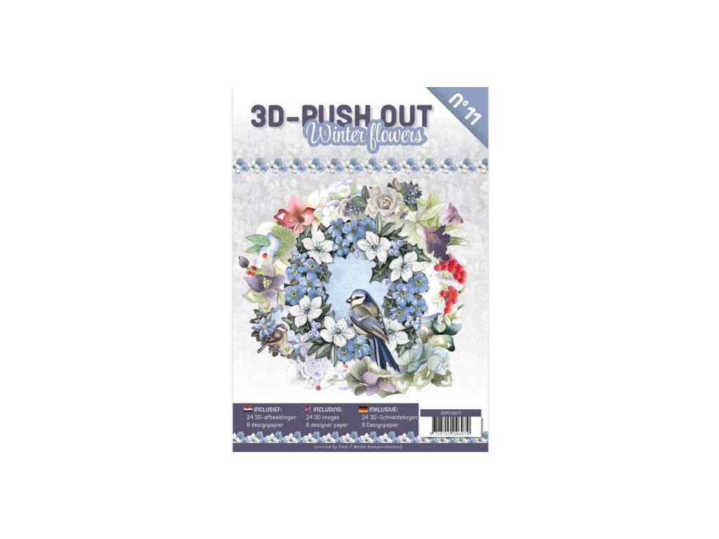 3D Výřezy a papíry v sadě Zimní květy 24 ks