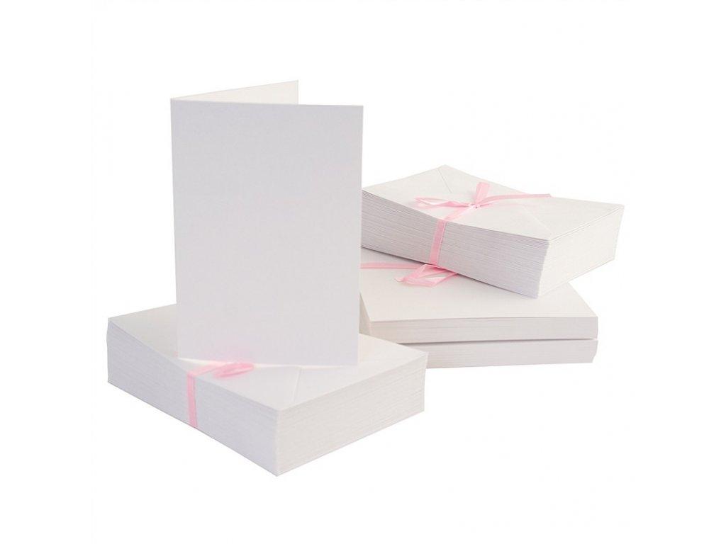 A6 přání a obálky Bílé 100 ks
