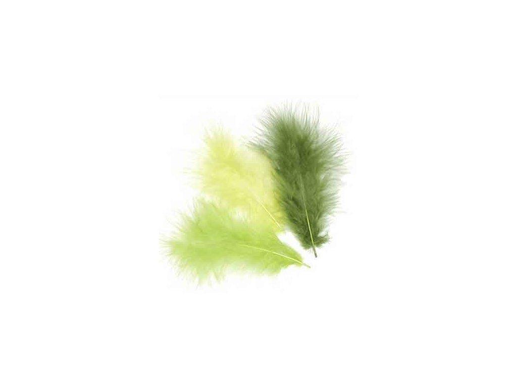 Peříčka Marabu zelený světlý mix