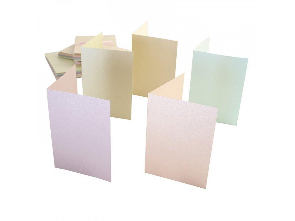 A6 přání a obálky perleťové pastelové