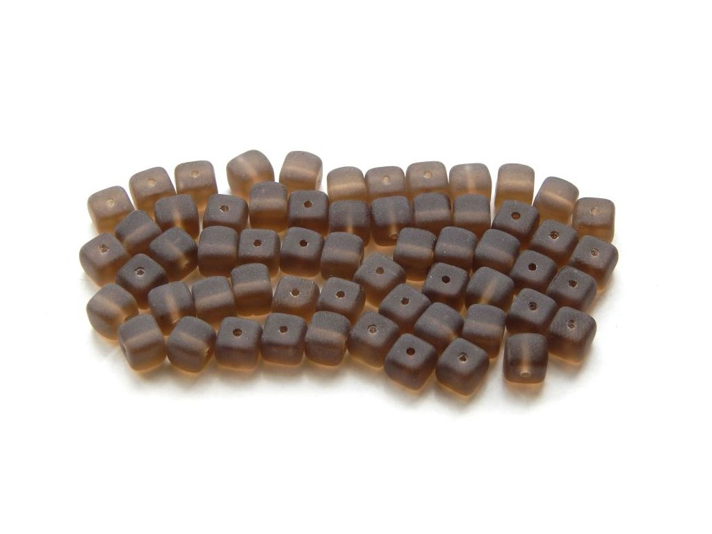 Mačkané korálky - topaz mat kostička