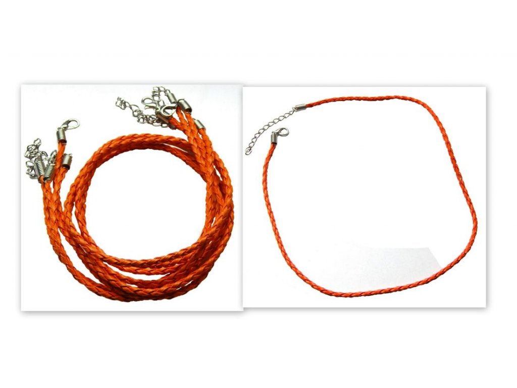 Náhrdelník pletená kůže oranžová