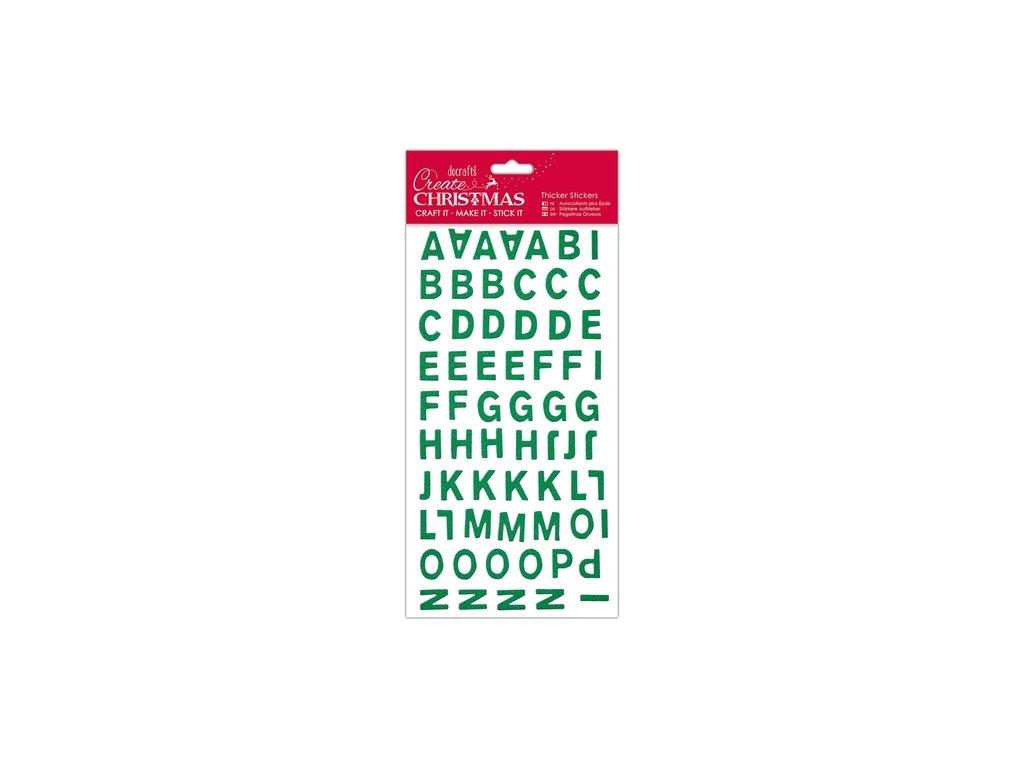 Samolepicí vánoční velká abeceda a čísla zelená