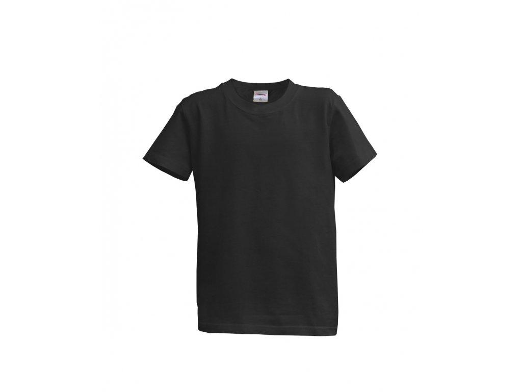 Dětské tričko krátký rukáv L - černé (12-13 let, 152)
