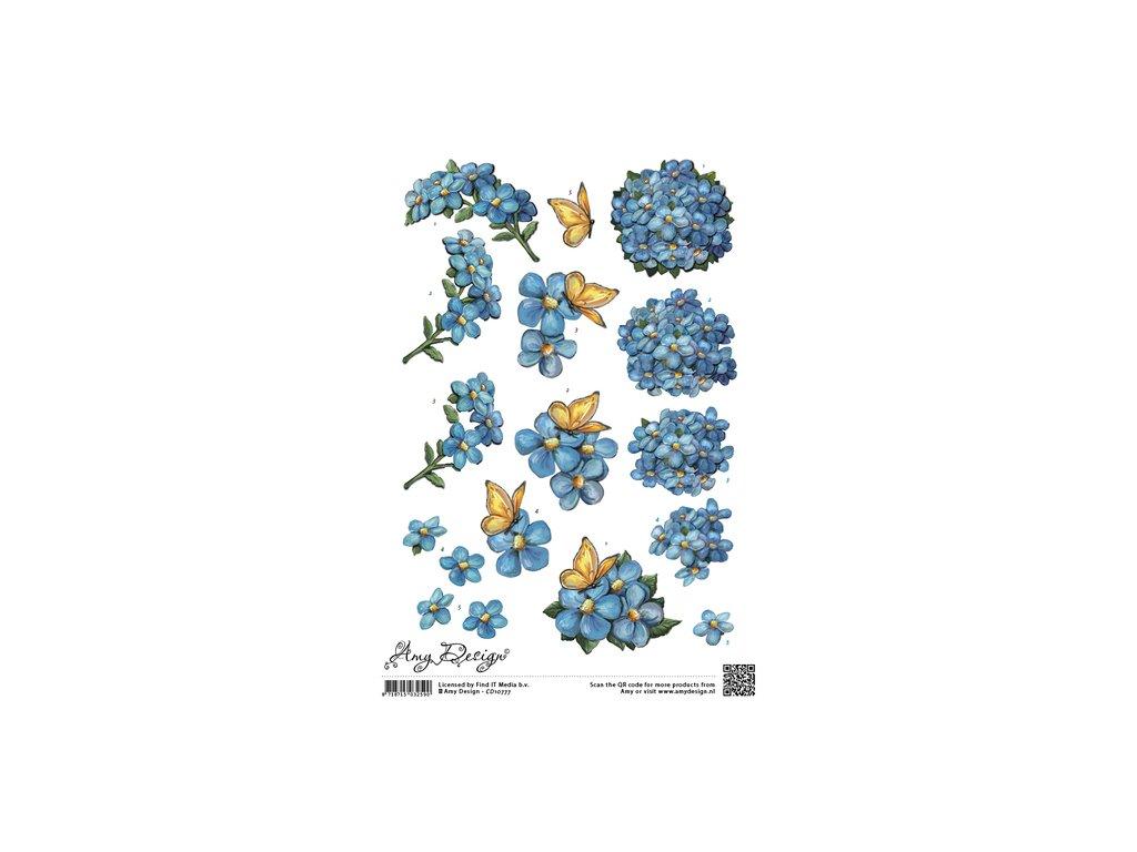 3D Výřezy Modré květy