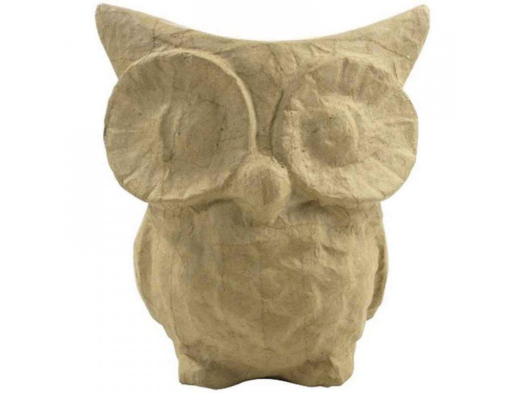 Kartonový předmět sova s velkýma očima