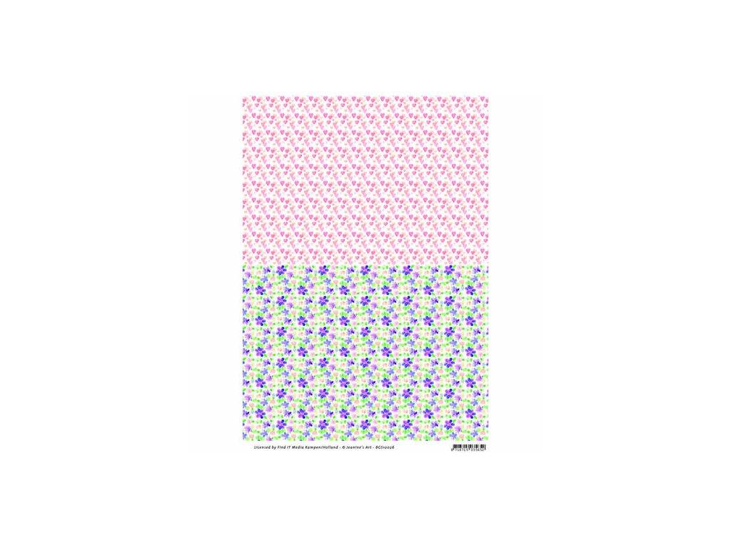 Jednostranný papír Klasická zahrada růžová