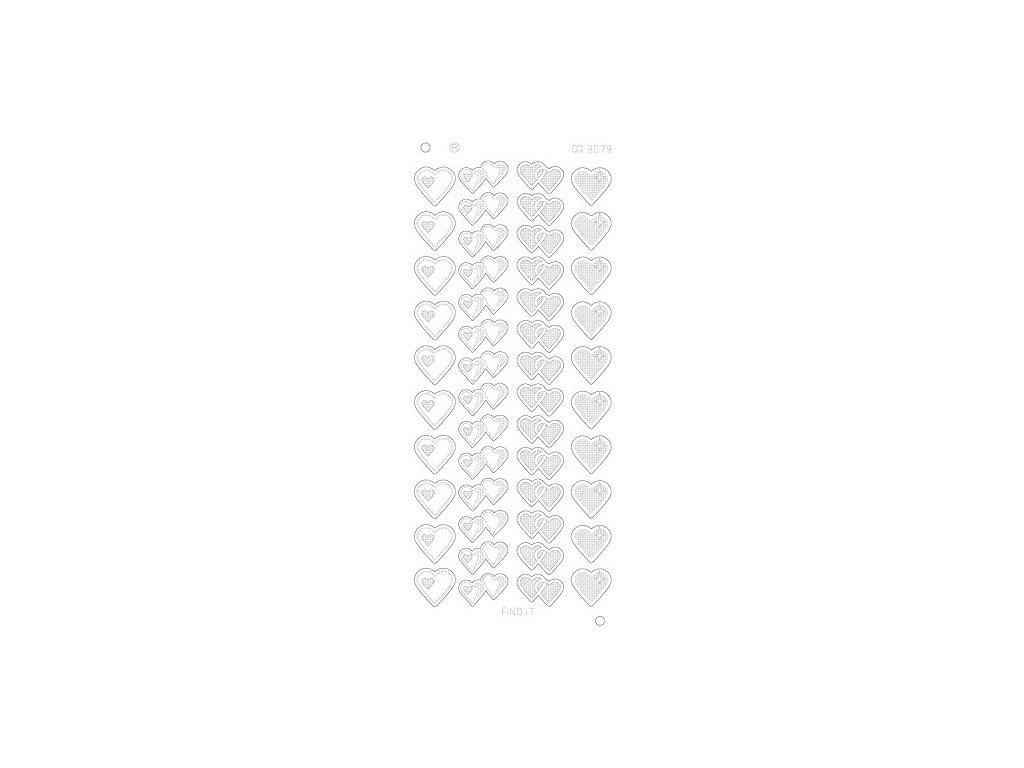 Samolepky metalické stříbrné - platina srdce