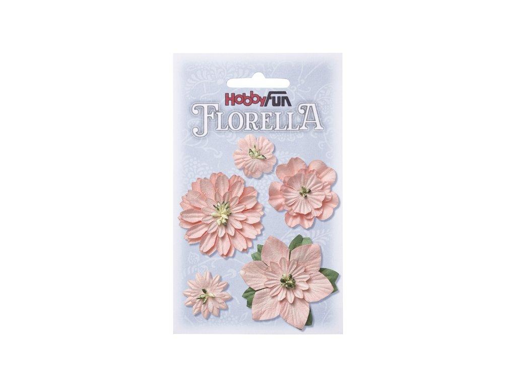Papírové květy FLORELLA jemně růžové