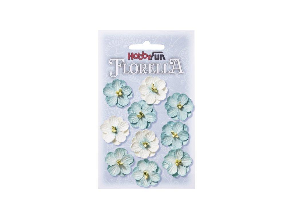 Papírové květy FLORELLA světle modré 2,5cm
