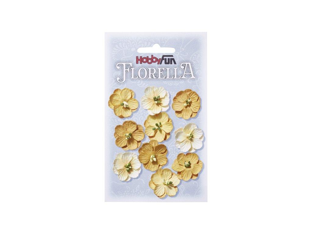 Papírové květy FLORELLA žluté 2,5cm