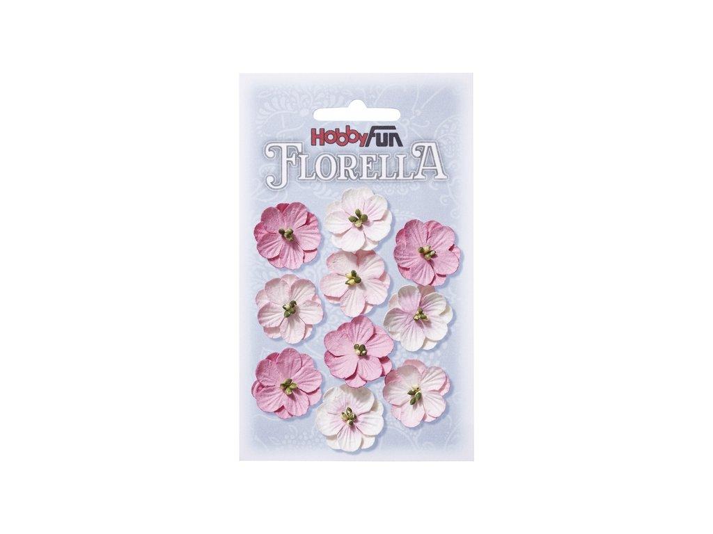 Papírové květy FLORELLA růžové 2,5cm