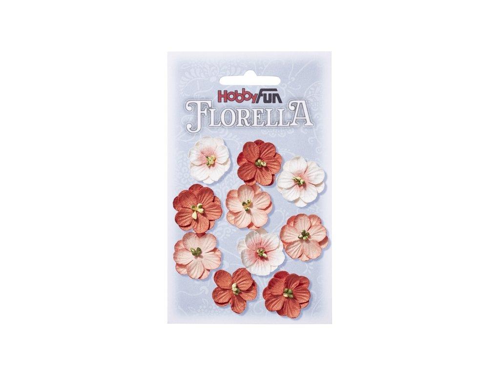 Papírové květy FLORELLA červené 2,5cm