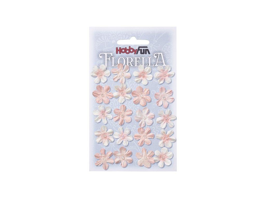 Papírové květy FLORELLA růžové 2 cm