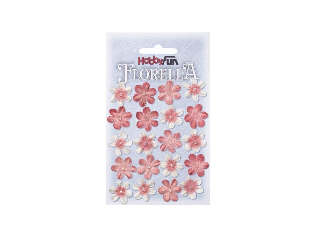 Papírové květy FLORELLA tmavě růžové 2 cm