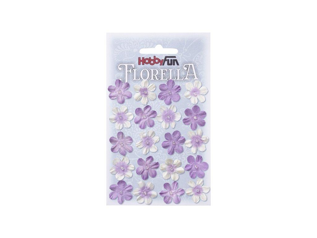 Papírové květy FLORELLA fialové 2 cm