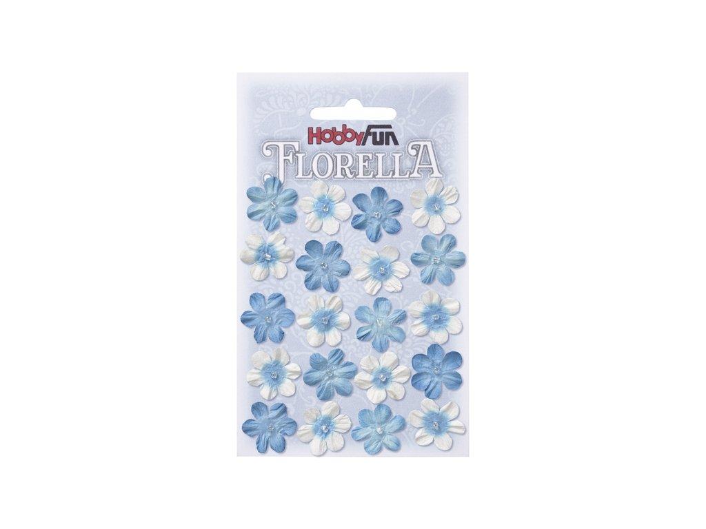 Papírové květy FLORELLA modré 2 cm