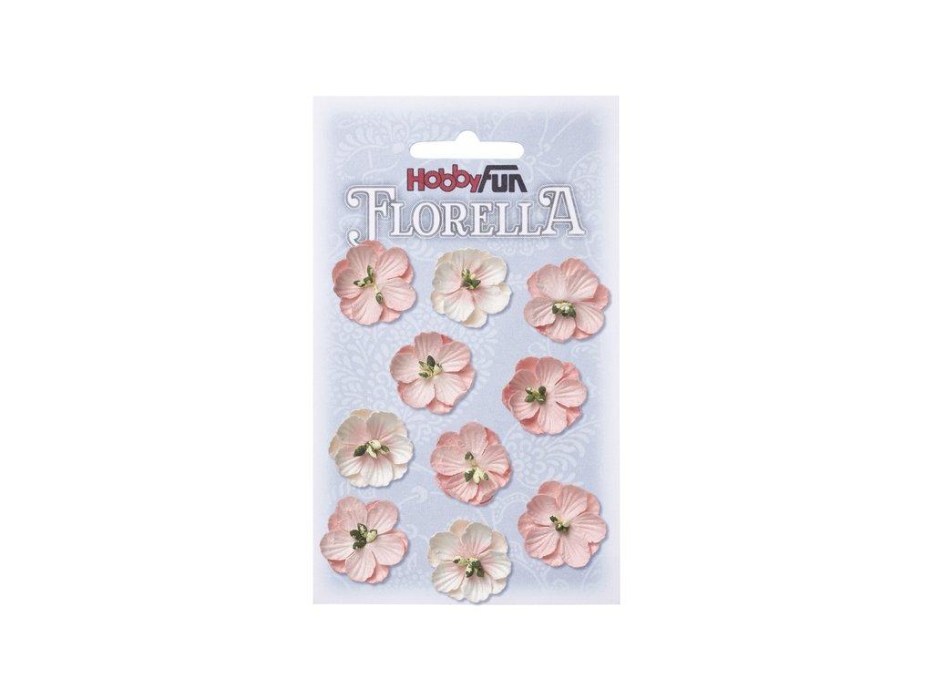 Papírové květy FLORELLA světle růžové 2,5 cm
