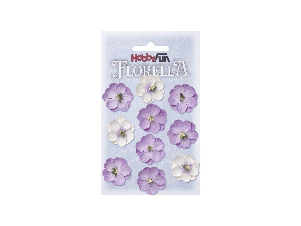 Papírové květy FLORELLA fialové 2,5 cm