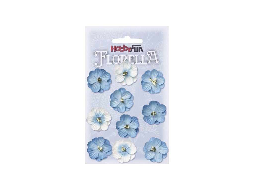 Papírové květy FLORELLA modré 2,5 cm