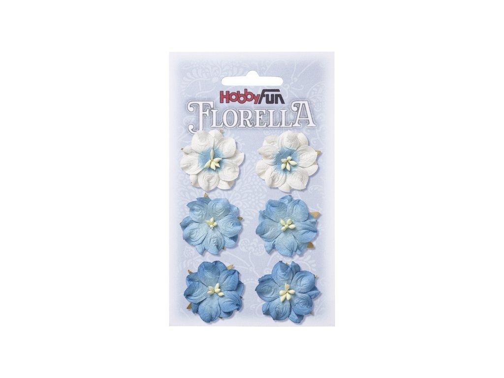 Papírové květy FLORELLA modré 3,5 cm