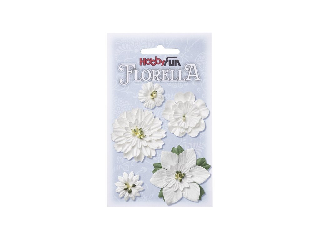 Papírové květy FLORELLA bílé 2-5 cm