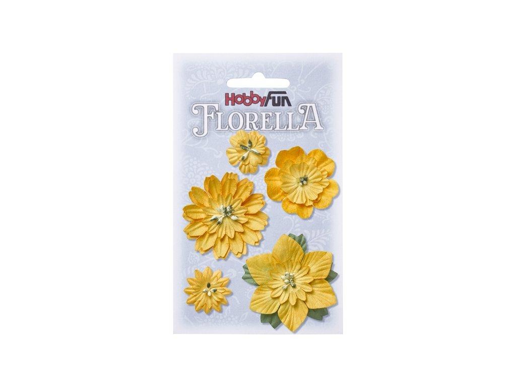 Papírové květy FLORELLA žluté 2-5 cm
