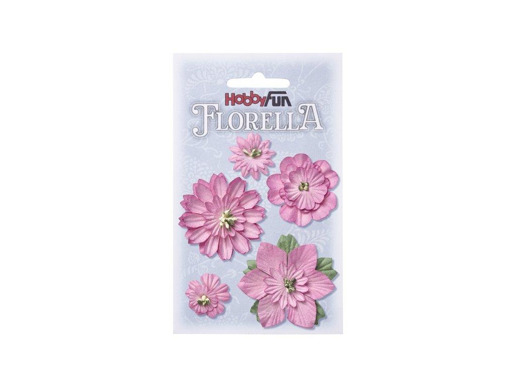 Papírové květy FLORELLA růžové 2-5 cm