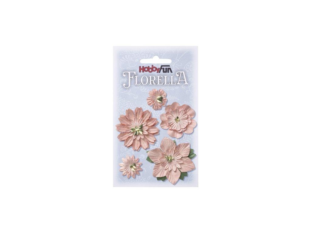 Papírové květy FLORELLA světle růžové 2-5 cm