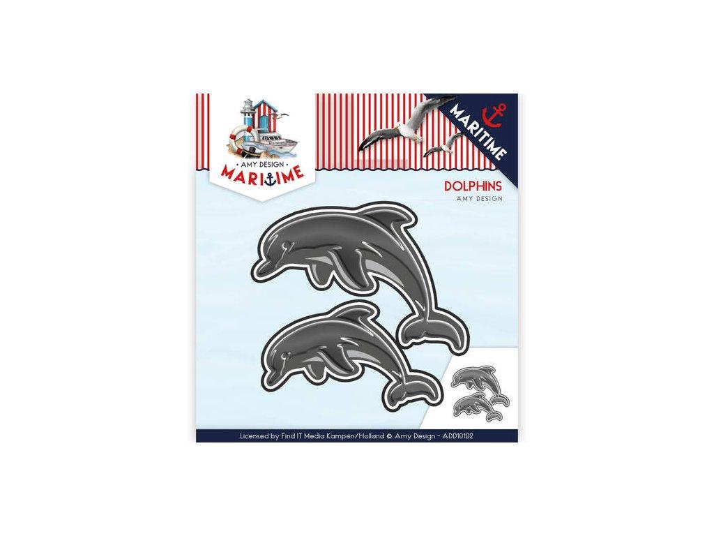 Šablona kovová vyřezávací Delfíni