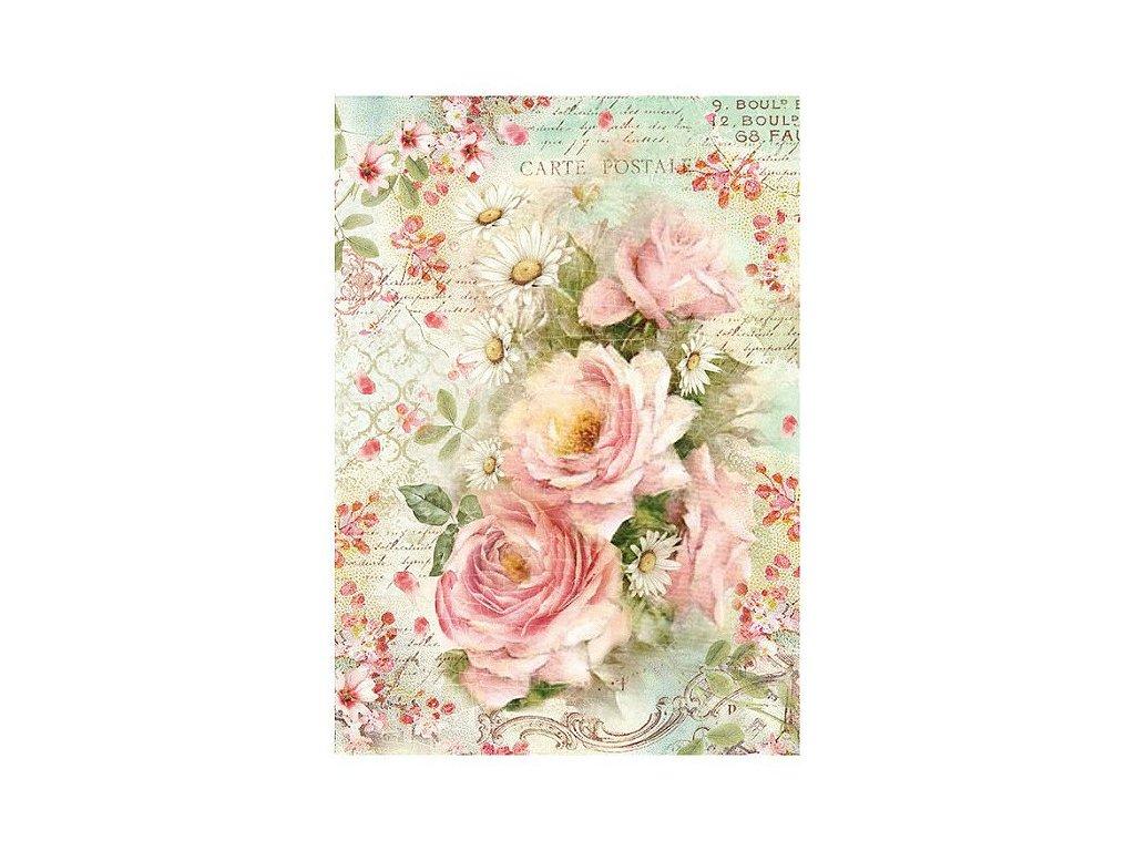 Rýžový papír Růže a sedmikrásky