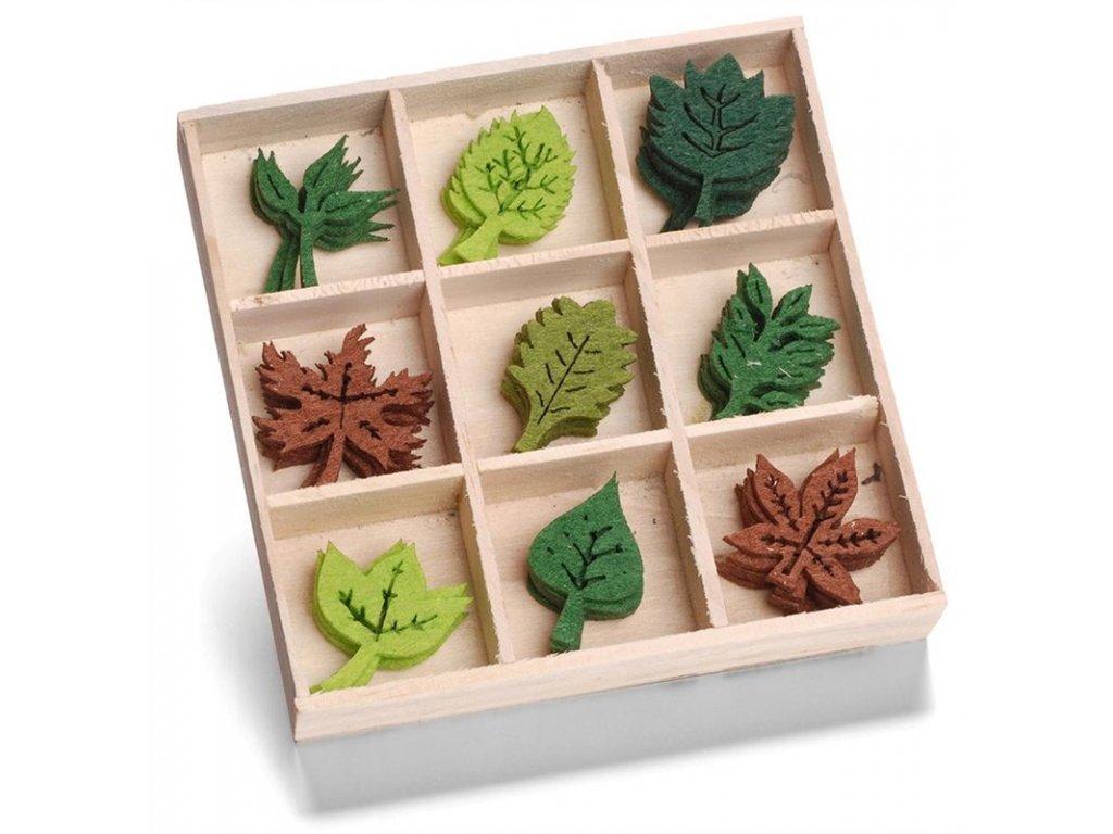 Mix dekorací z filcu Listy