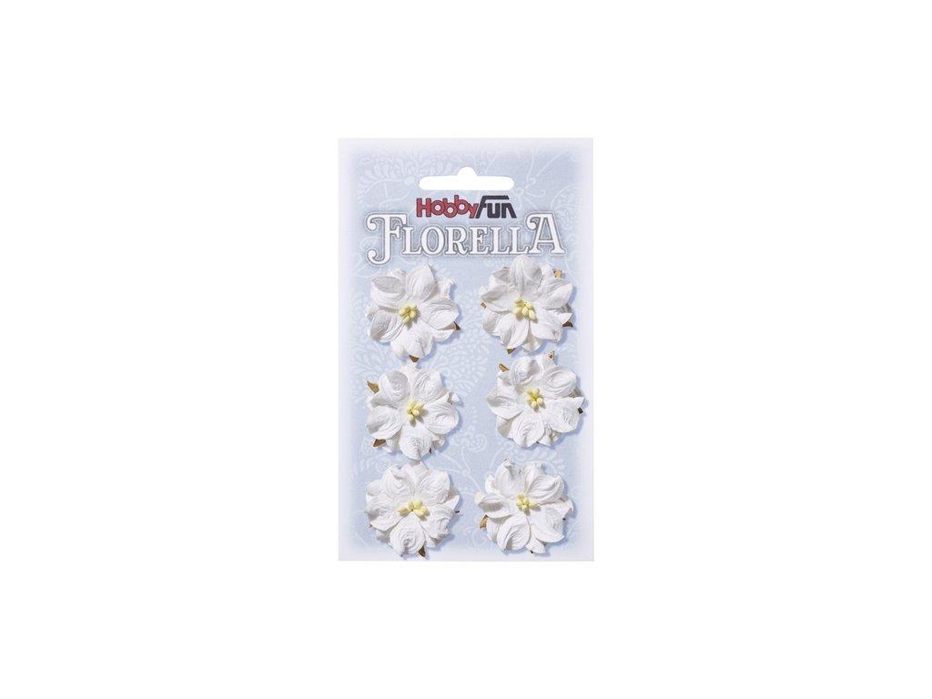 Papírové květy FLORELLA bílé 3,5cm