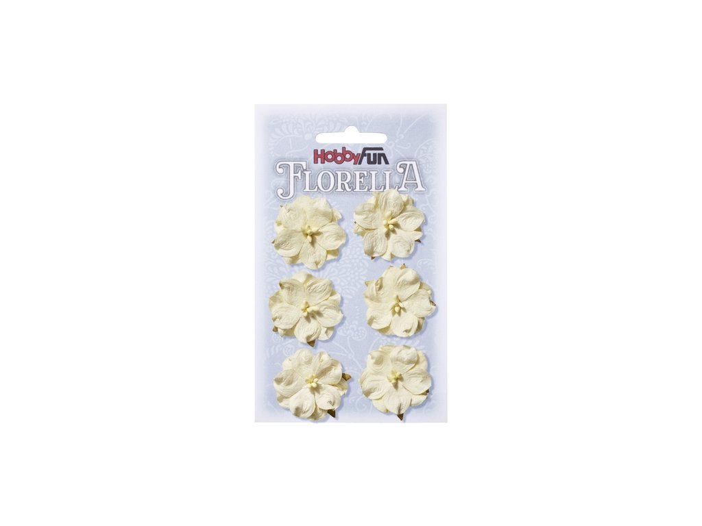 Papírové květy FLORELLA krémové 3,5cm