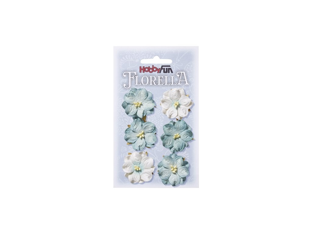 Papírové květy FLORELLA světle modrá 3,5cm