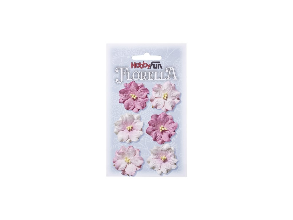 Papírové květy FLORELLA růžové 3,5cm