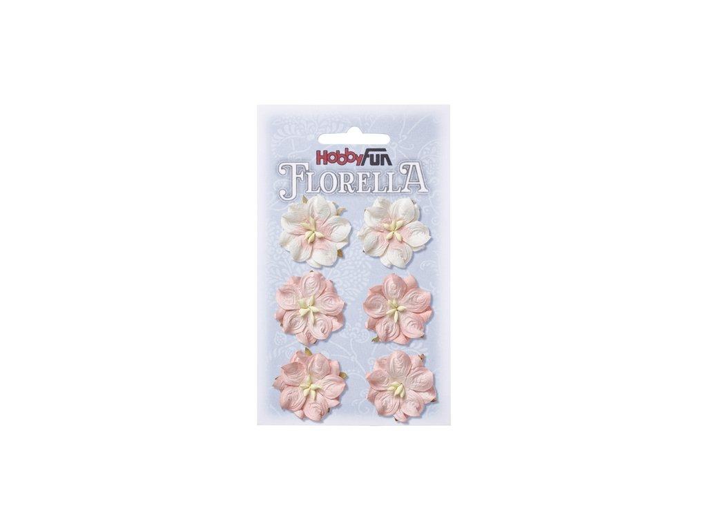 Papírové květy FLORELLA světle růžové 3,5 cm
