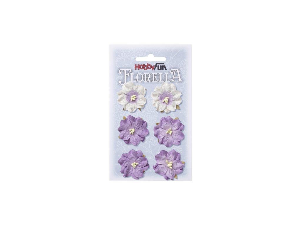 Papírové květy FLORELLA fialové 3,5 cm