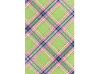Papír na decoupage Zeleno-růžový kostkovaný